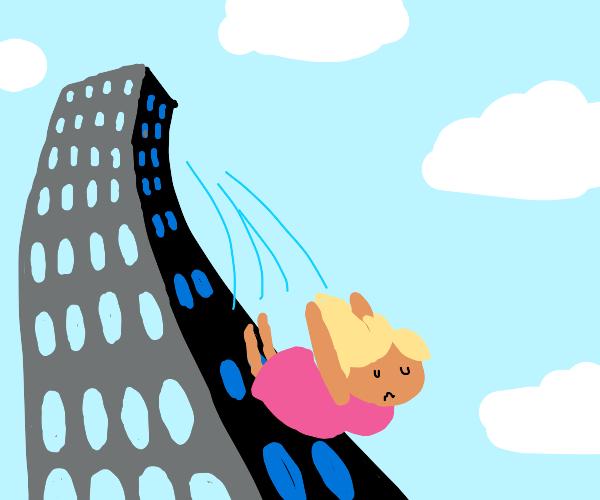 Lady jumps off balcony