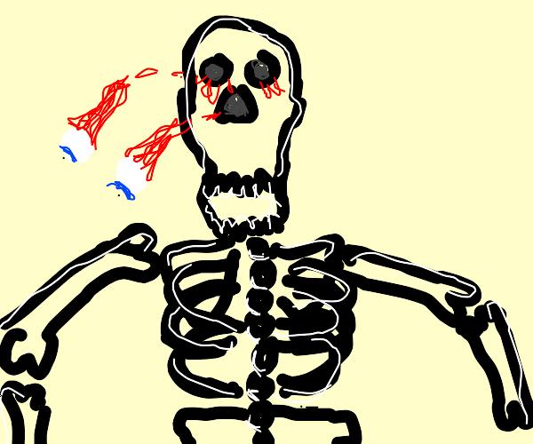 Dark skeleton man's eyeballs fall out