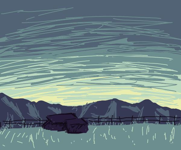Peaceful rural farm sunrise