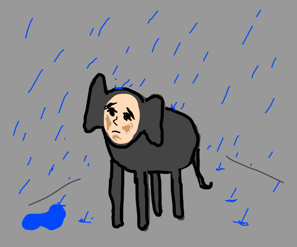 Sad elephant with human face is alone in rain
