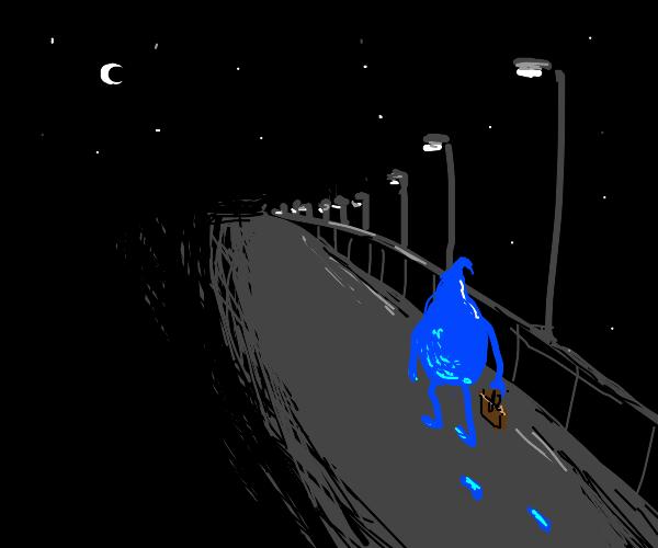 water drop walking around at night