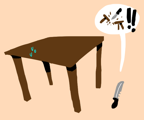 table gets threatend by knife