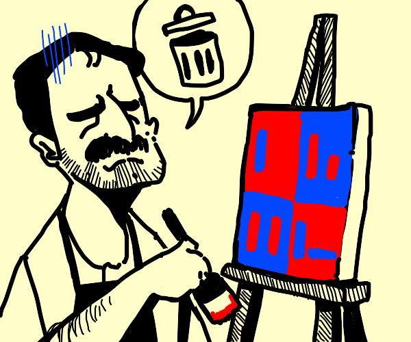 guy gives up on his blue and red drawing