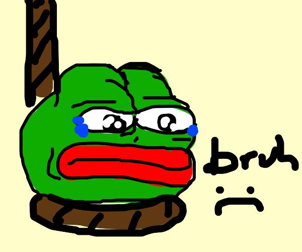 Meme Frog got hanged. (Not Kermit)