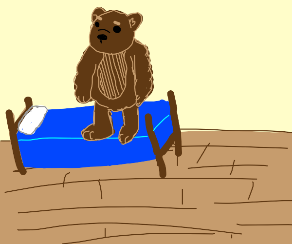 a big brown bear stepping on your bed