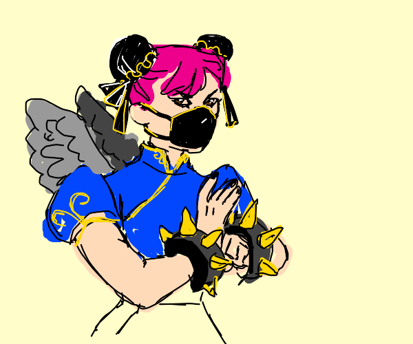 chun li with face mask, pink hair, and wings