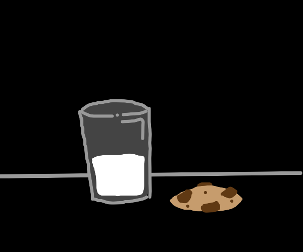 glass of milk and a cookie