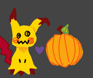 Cute pikachu puppet (?)with pumpkin