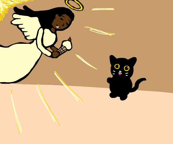 Angel gifts ice cream cone to cat