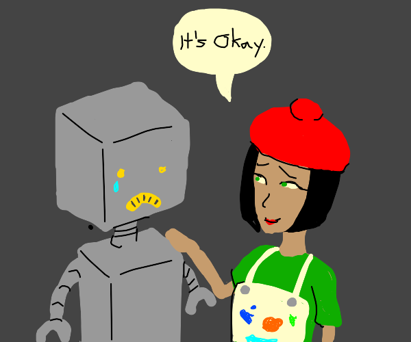 Sad Robot consoled by artist