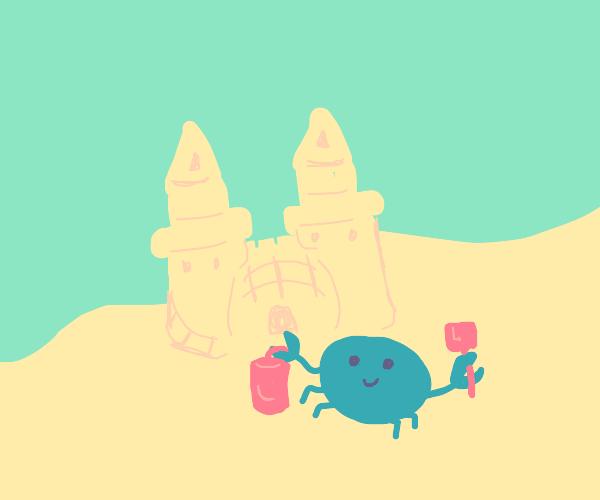 Blue crab builds a sandcastle