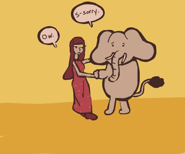Awkward waltz with an elephant