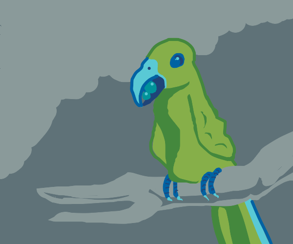 a macaw on a branch eating