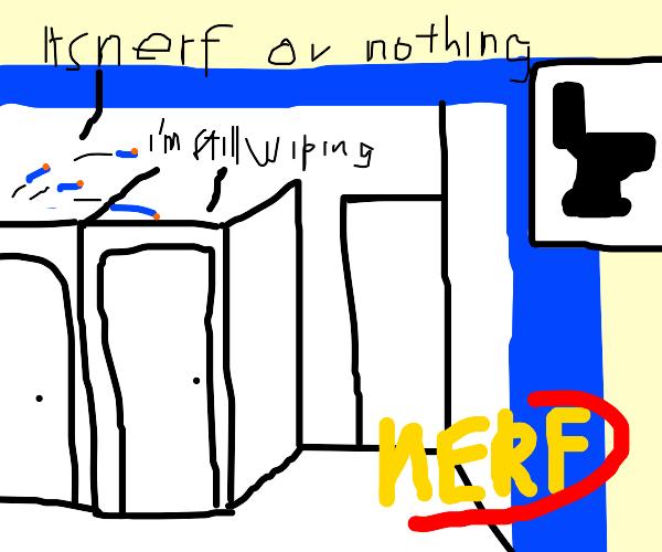 Nerf fight on public toilet