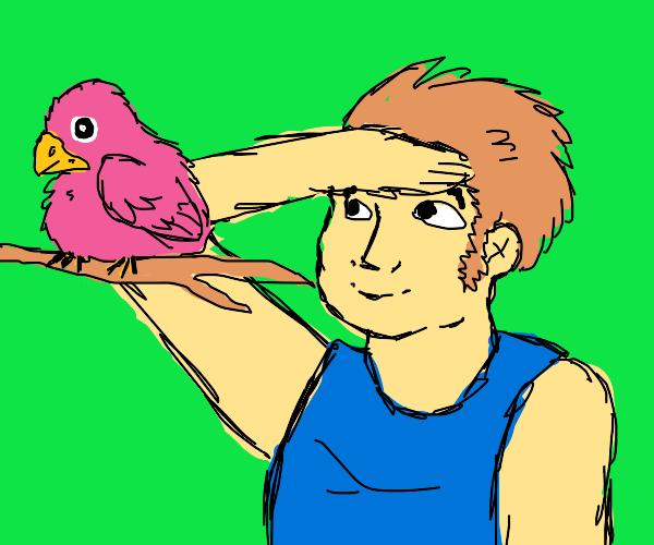 Men saluting a bird