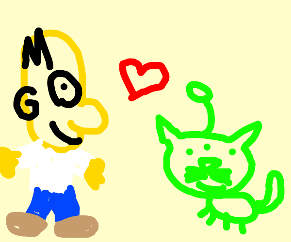 homer simpson and alien kitty r friends