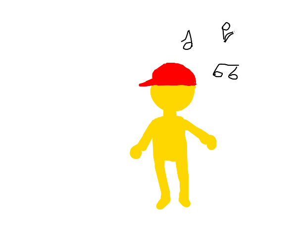 Yellow ball man with a red hat
