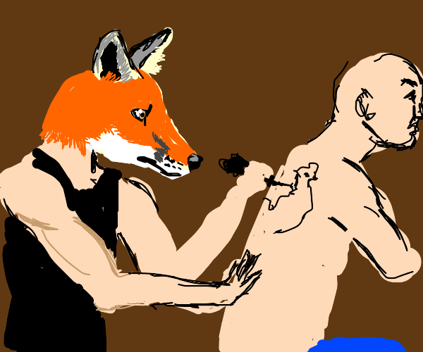 A fox head person tattooing someone