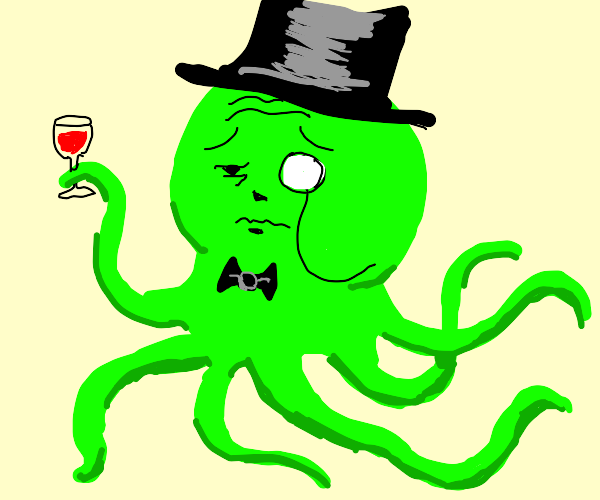 Dapper octopus with a drink