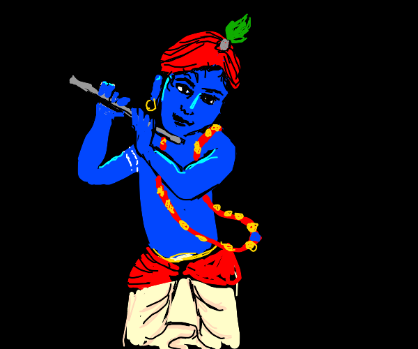Hindu god playing the flute