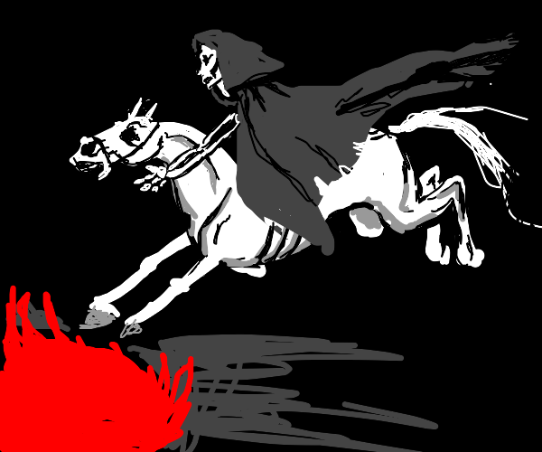 death on his white horse returns into hell