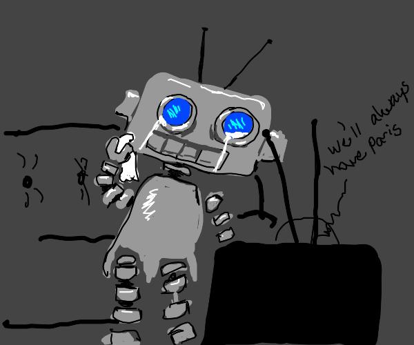 Robot watching a sad movie