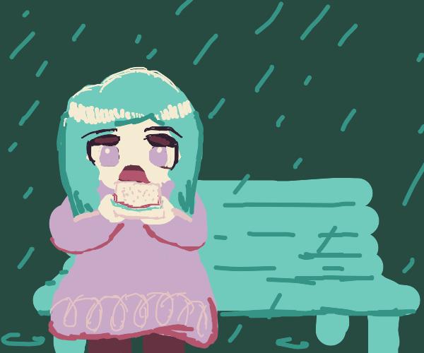 Eating a sandwich on a rainy day