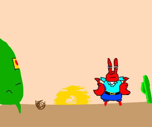 plankton and krabs stand-off
