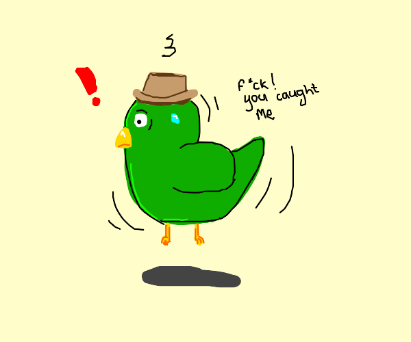 green bird with fedora is caught
