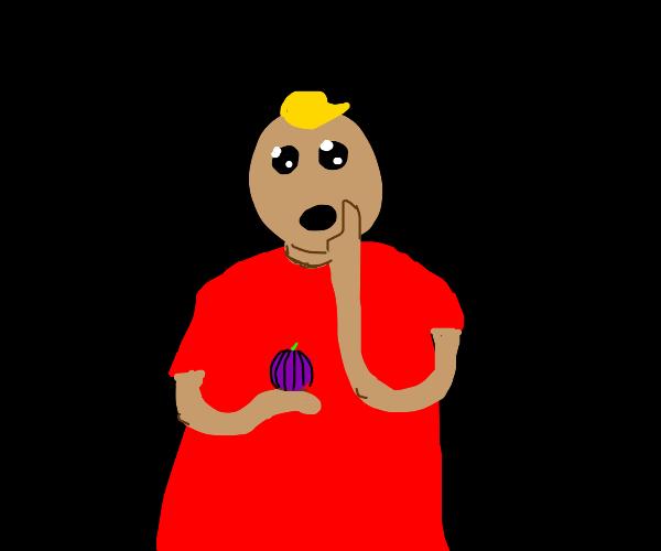 Man wearing Red Shirt likes Onions