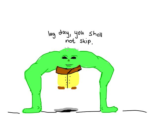 Buff Yoda wearing a hoodie