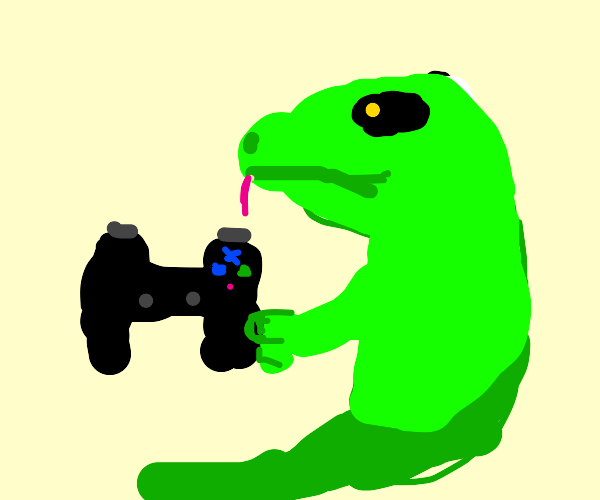 Lizard playing a PS3
