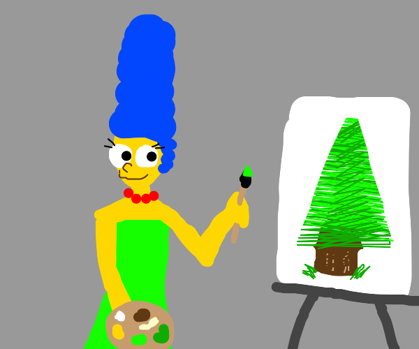 marge simpson painting a tree