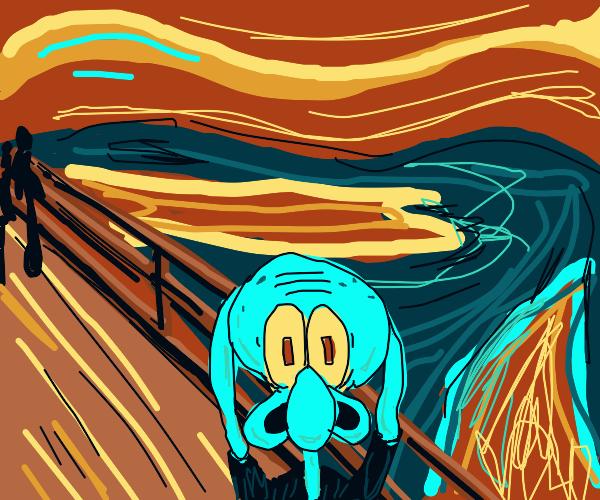 Squidward in the Scream painting