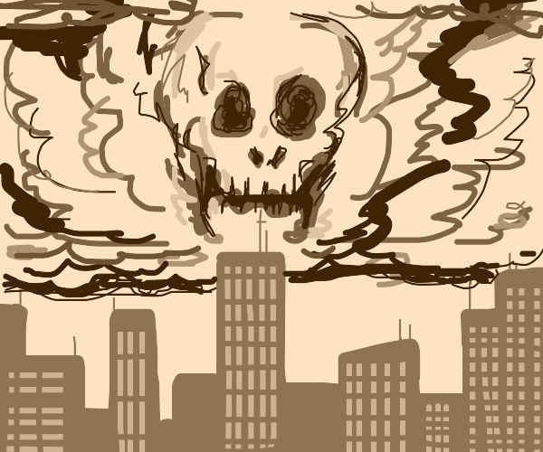 Foreboding, skull-shaped cloud over city