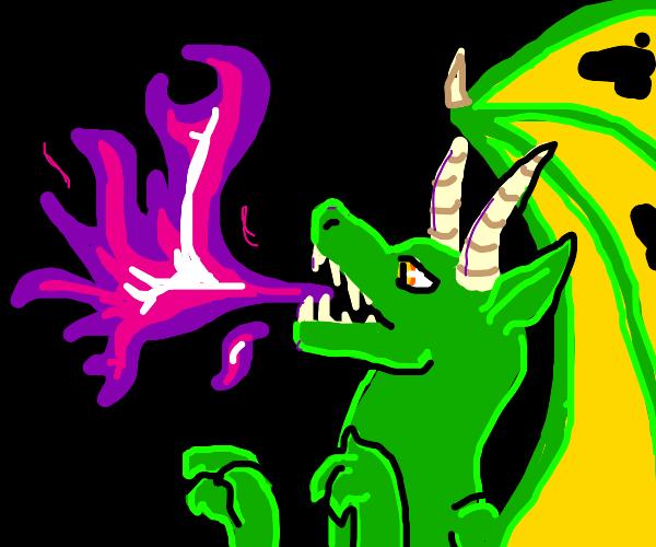 Dragon breathes purple fire