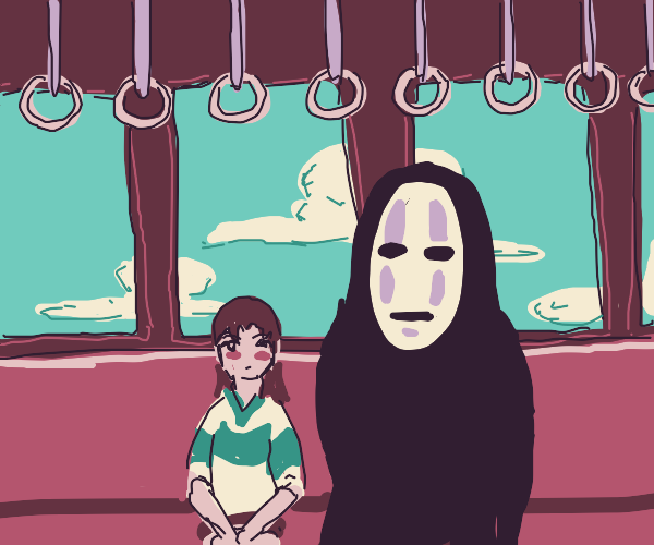 spirited away, chihiro and no face on train