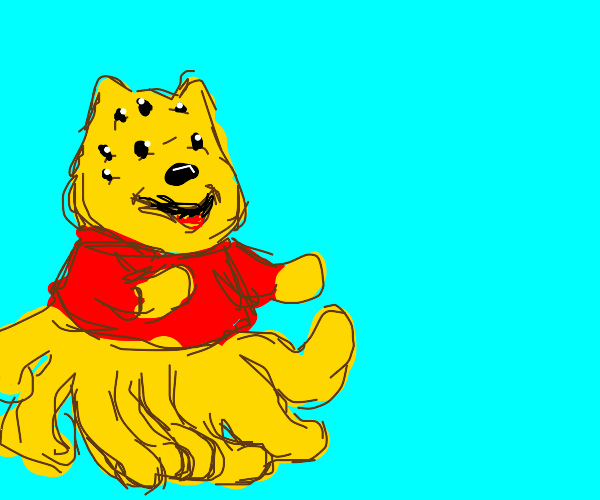 Winnie the pooh but with 8 eyes and legs