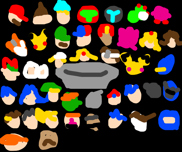 Smash ultimate characters stare at a plate