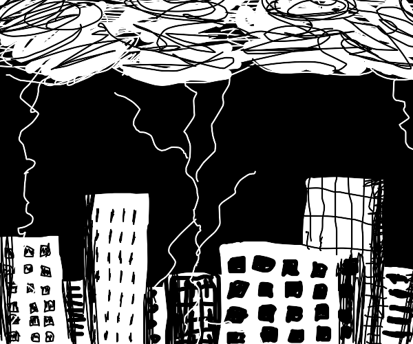 a city in a lightning storm