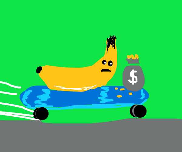 Banana uses skateboard as a getaway car