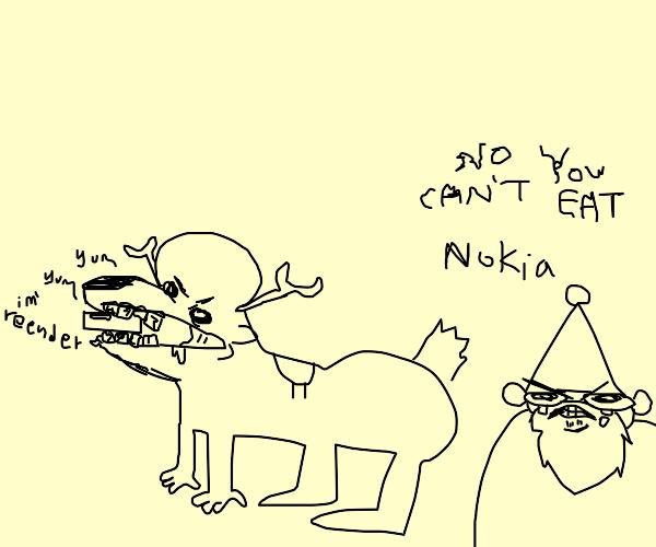 finnish reindeer loves eating nokia phones