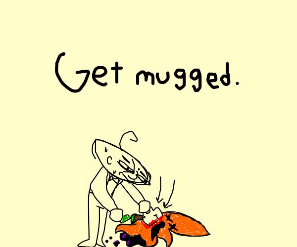man mugs orange squid for money