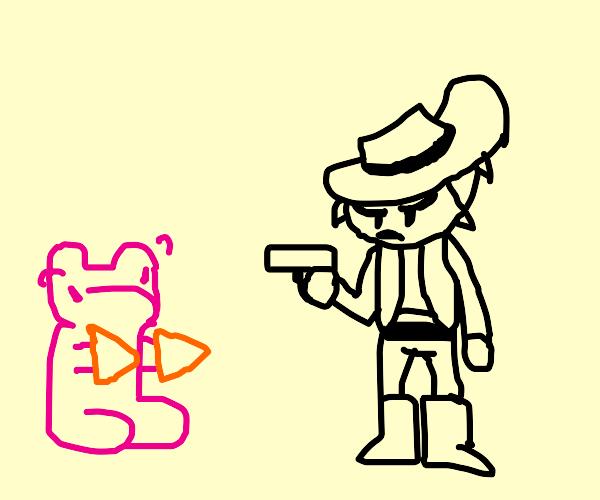 cowboy fights gummy bear w/ dorito hands