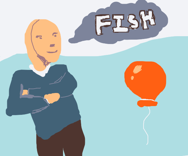 Meme man mistakes balloon for fish