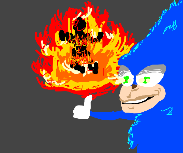 Sonic immolates a man and smiles like psycho