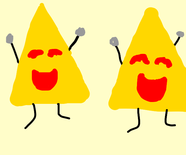 Two happy yellow triangles