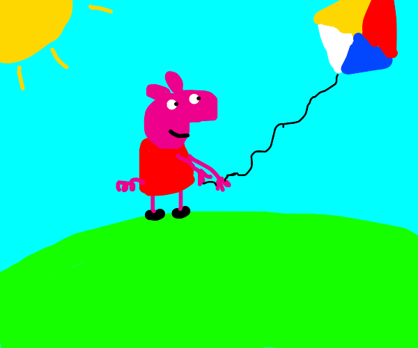 peppa pig play with a kite