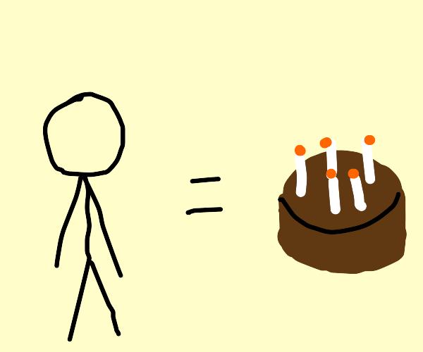 Stickmen are equivalent to birthday cakes