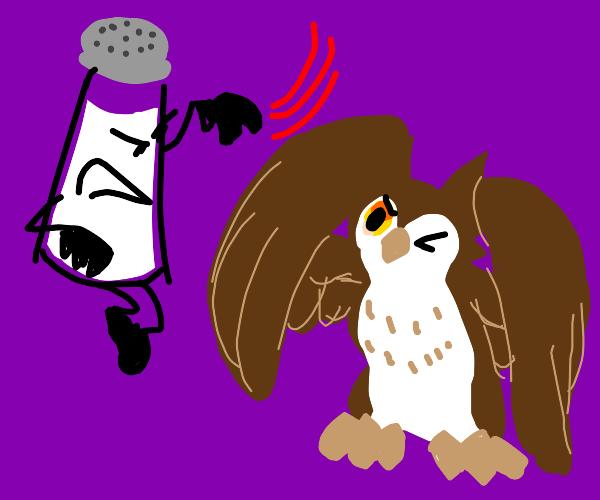 floating salt shaker a-salts annoyed owl